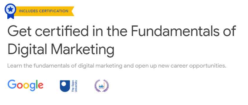 Certification for Fundamentals of Digital Marketing