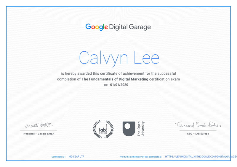 Google Digital Garage's Certificate