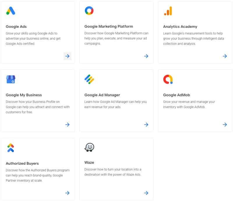 Google Skillshop Product Certification List