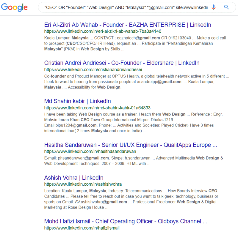 Google search result for Linkedin Email Address