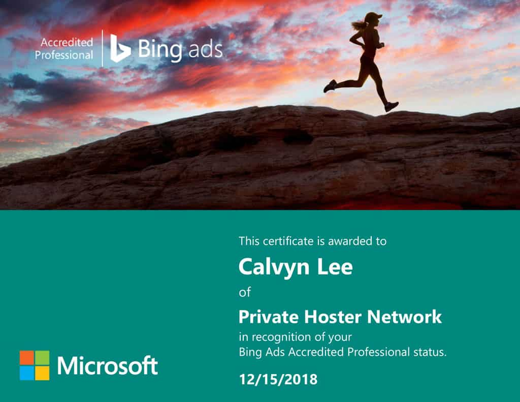 Bing Ads Accredited Professional Certificate
