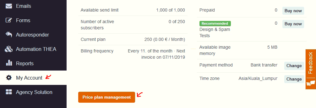 CleverReach price plan management