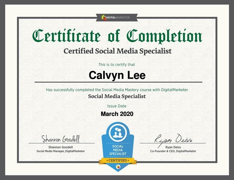 Social Media Specialist Certificate