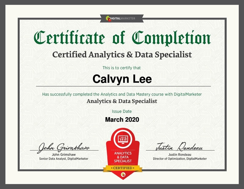 Analytics & Data Specialist Certification