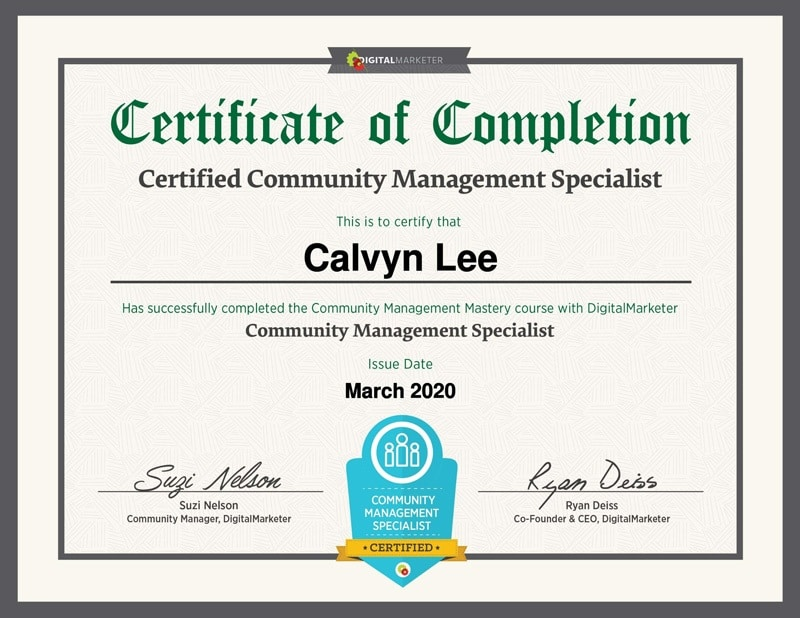 Community Management Specialist Certification