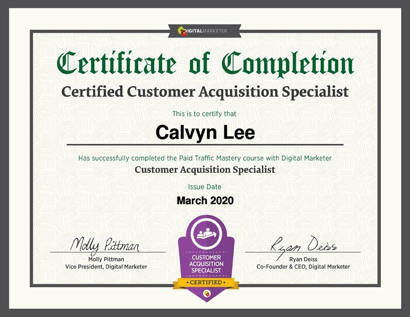 Customer Acquisition Specialist Certification