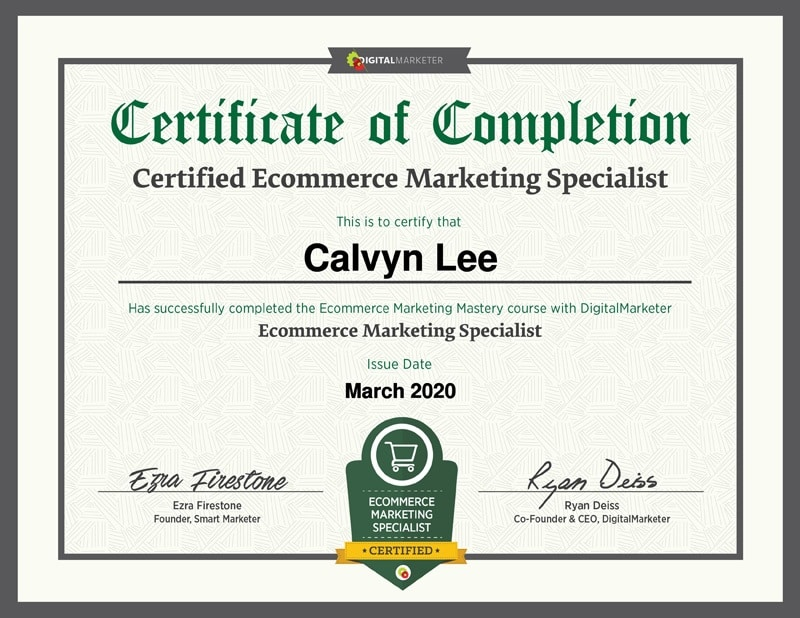 Ecommerce Marketing Specialist Certification