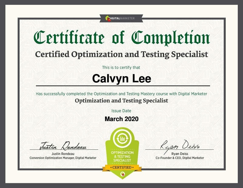 Optimization & Testing Certification