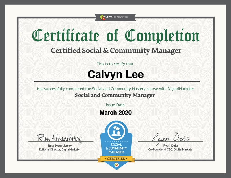 Social and Community Manager Certificate